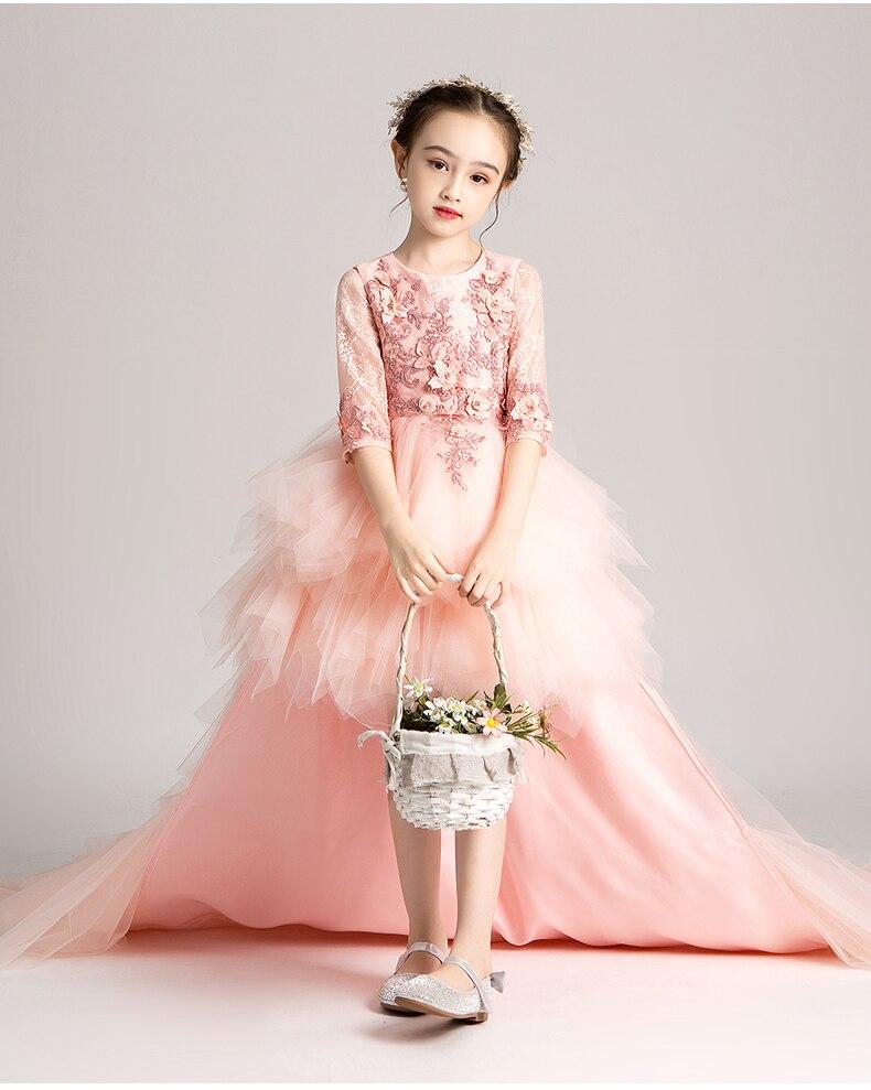 Filles élégantes robe de princesse longue traînée enfants robe de soirée rose Tulle Appliques princesse fleur filles robe de mariée