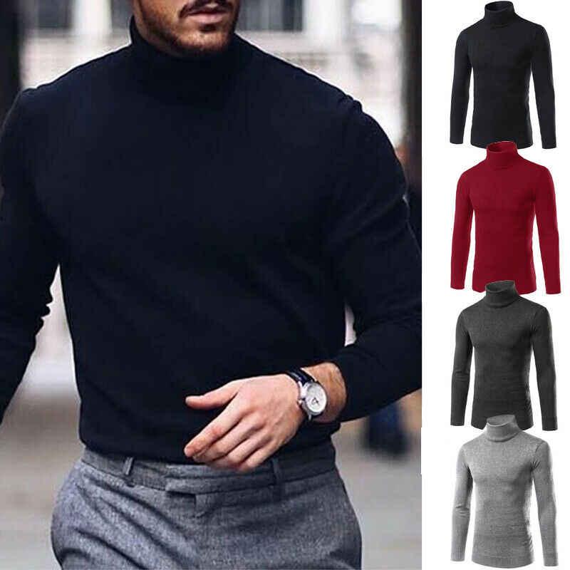 Jumper Tops Knitted Turtleneck Pullover Sweater Warm Slim Men Winter Long Sleeve