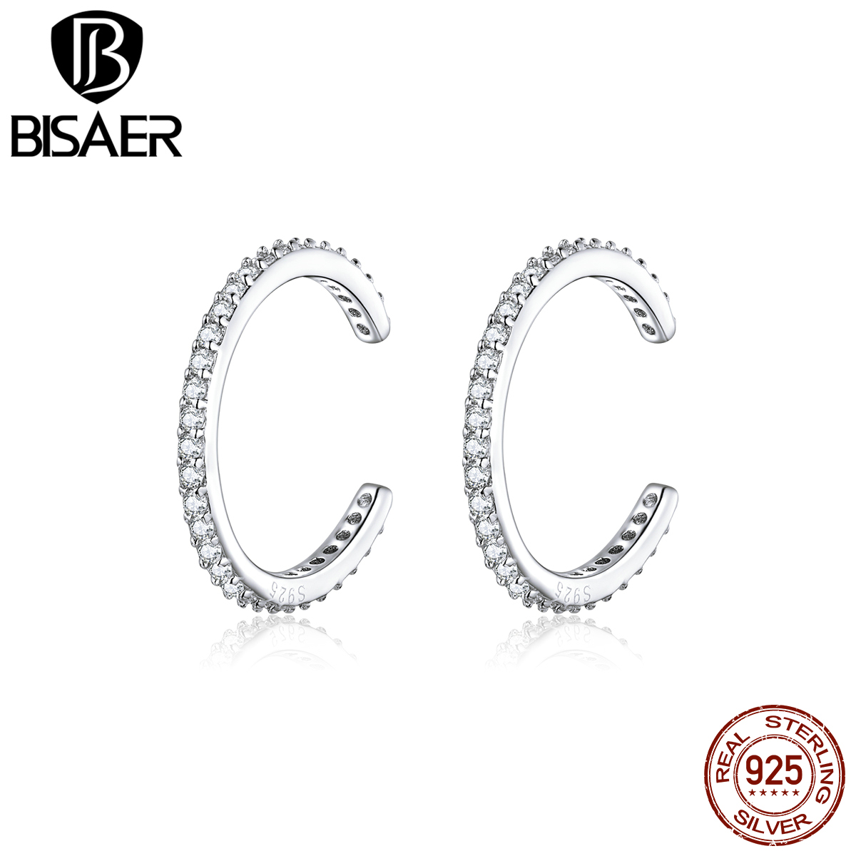Earrings Clip BISAER 925 Sterling Silver Fashion & Simple Cubic Zircon Women Earrings Dazzling Cubic Zircon Jewelry ECE842