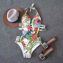Halter Cut Out One-Piece Swimsuit Women Floral Print Monokini Bathing Suits 2020 Girl Sexy Swimwear Swimming Suit For Women sweet halter neck floral print one piece swimwear for women