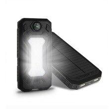 цена на Universal Ultra Thin 20000mAh Portable Solar Power Bank with LED Light External Phone Charging Battery With Compass Powerbank