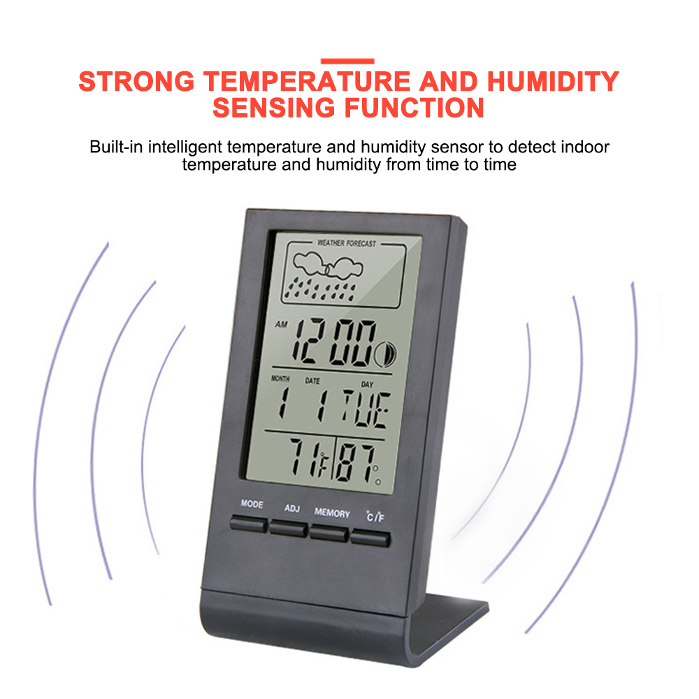 Weather Station Indoor Outdoor Thermometer Hygrometer Digital LCD Temperature Humidity Meter With Alarm Clock