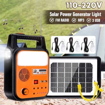 Solar Power Generator USB Charging Home System Storage Generator 110V-220V With 3 LED Bulbs FM Radio MP3 Functions Durable