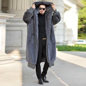 Мужская кожаная куртка с капюшоном, осенняя утепленная куртка из искусственного меха норки, свободная куртка, B139
