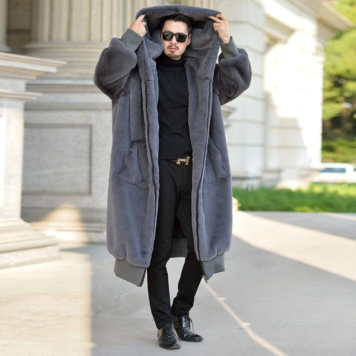 Autumn Robe Faux Mink Fur Leather Jacket Mens Winter Thicken Warm Fur Leather Coat Men Loose Jackets Hooded B139
