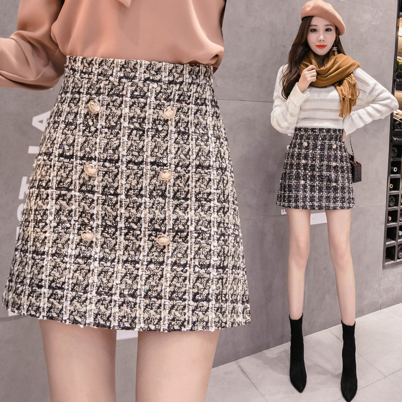 2019 Autumn And Winter New Style Korean-style Rove Woolen Cloth Plaid Sheath High-waisted Short Skirt Woolen Skirt