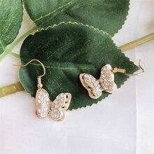 New Arrivals Butterfly Earrings for Women Dangle Drop Earring2020 Gold Alloy Diamond Earring Fashionjewelry Wedding Freeshipping