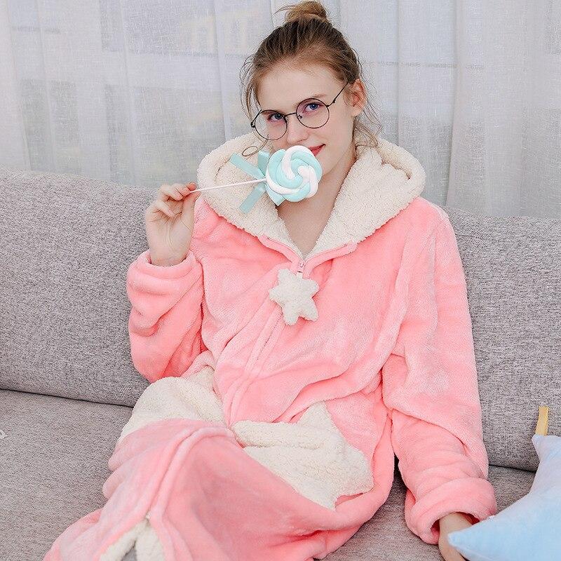 Femmes bleu rose gris décontracté hiver flanelle maison chaud vêtements de nuit Europe femme corail velours belle étoile en vrac longues Robes à capuche - 4