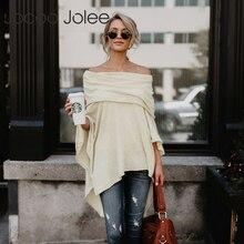Jocoo Jolee Модный Плащ, свитер с открытыми плечами, свободный, с вырезом лодочкой, повседневный вязаный свитер с рукавами летучая мышь, Chonpas Mujer Grande
