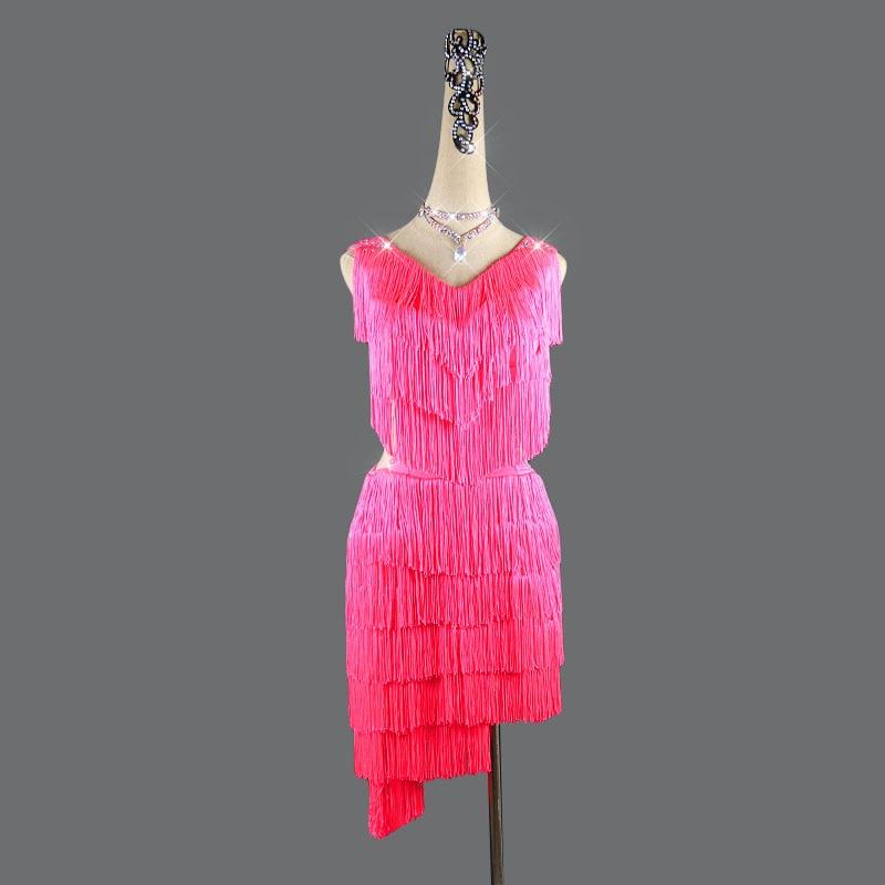 Latin Dance Dress Women Tassel V-Type Mesh Dance Wear Whole Body Tassel Line Salsa Fringe Dress Latina 2pcs Dress&Shorts QY-52