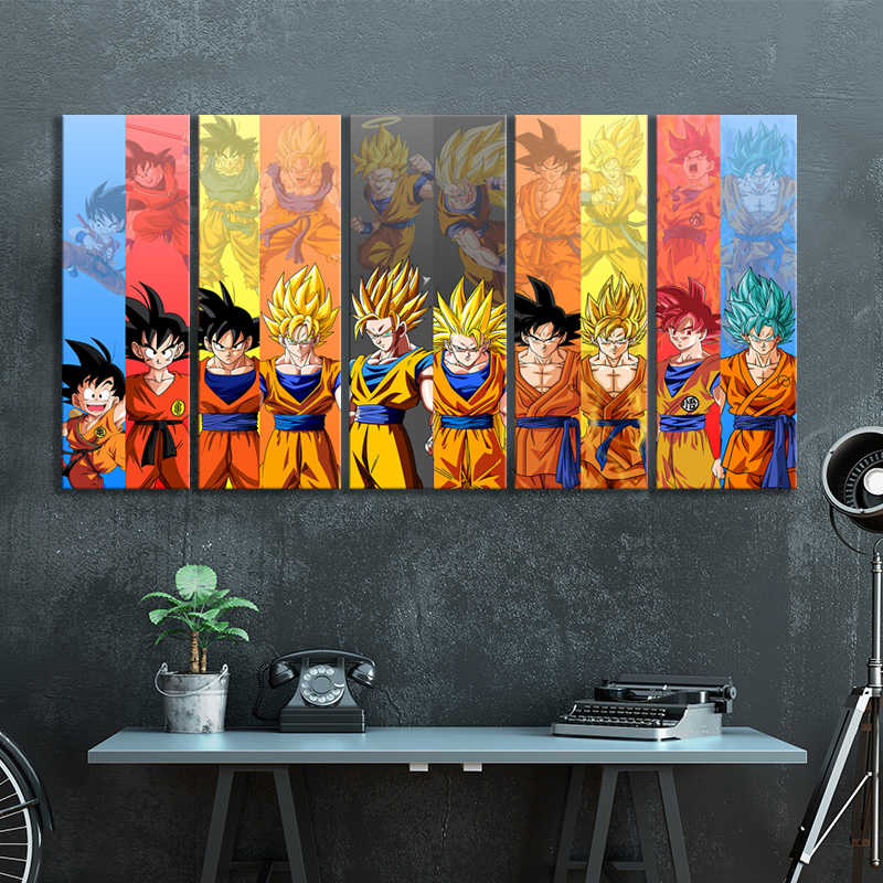 5pcs Dragon Ball Z Anime Poster Goku Pictures Canvas Wall Art Decorative Paintings for Bedroom Decor 4