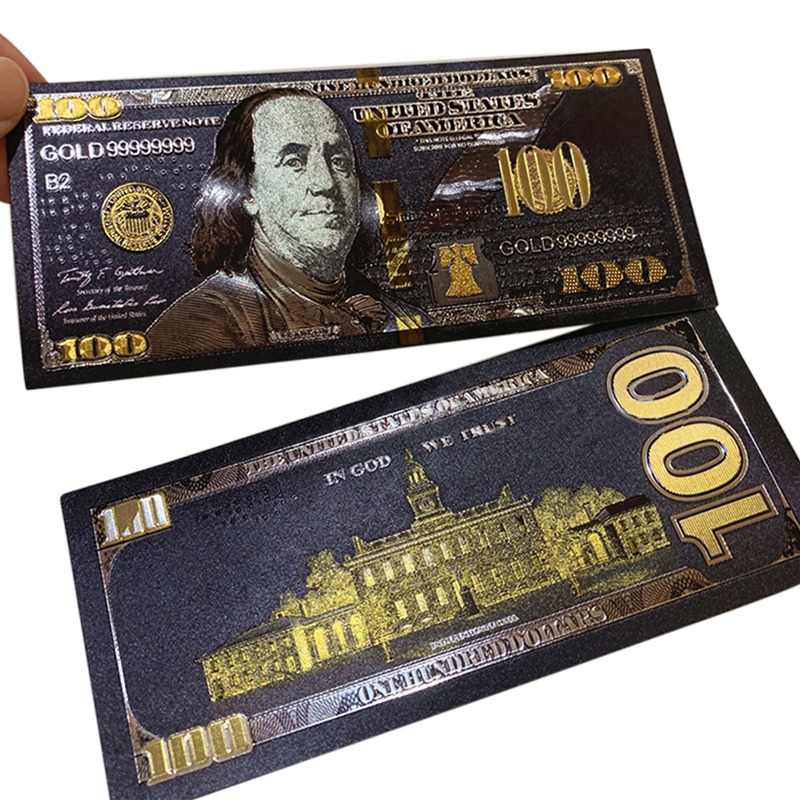 1pc Gold Überzogene Banknoten Antike Schwarz Gold Folie USD 100 Währung Gedenk Dollar Banknoten Decor 15.5*6.5*0,1 cm