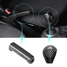 True carbon fiber Car Shift lever decoration shell For new Smart 453 fortwo forfour  Hand brake cover Modification Accessories