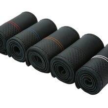 38cm camada superior couro genuíno macio trança cobertura de volante preto linha dupla mão-costurado com linha de agulha
