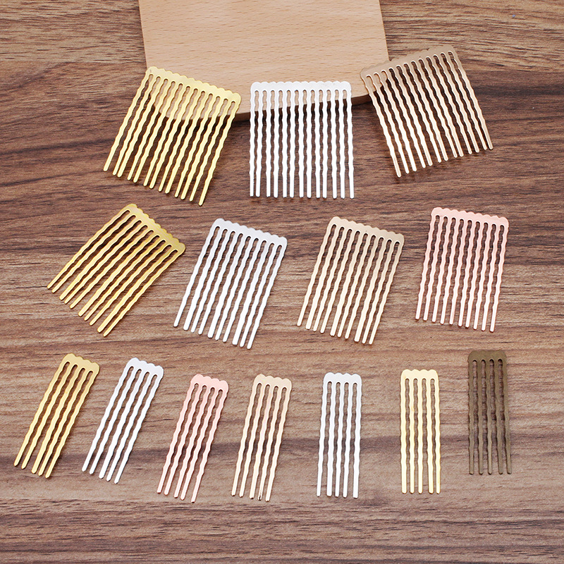 10PCS 50mm Length Metal Copper Hair Combs 7 Colors 5/10/13 Teeth Hair Combs DIY Accessories For Jewelry Making