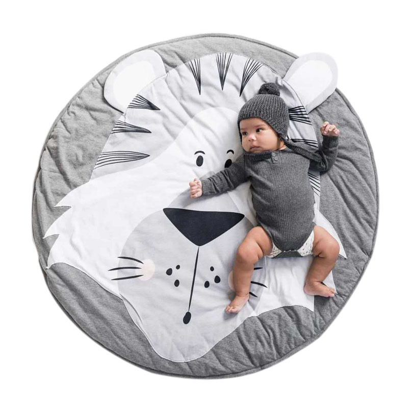 Baby Play Mats Pad Toddler Kids Crawling Blanket Toys Mat For Children Room Decor Photo Props Round Carpet Rug Cartoon Animals