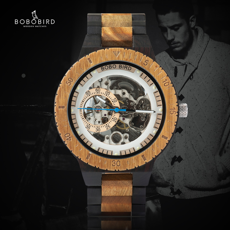 Wooden Watches Mechanical-Gift Forsining Bobo Bird Waterproof Automatic Men Male BOY title=