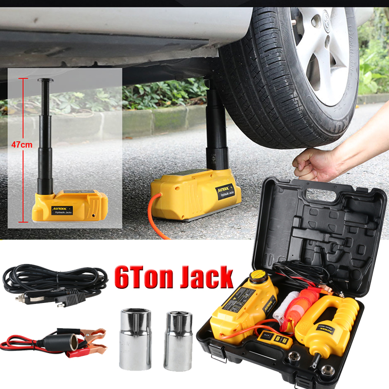 AUTOOL 6T 5T 12V Jack For Car Jacks Hydraulic Jack Lifting 47cm Hight Auto Disassembly Tire Repair Tool With Electric Wrench