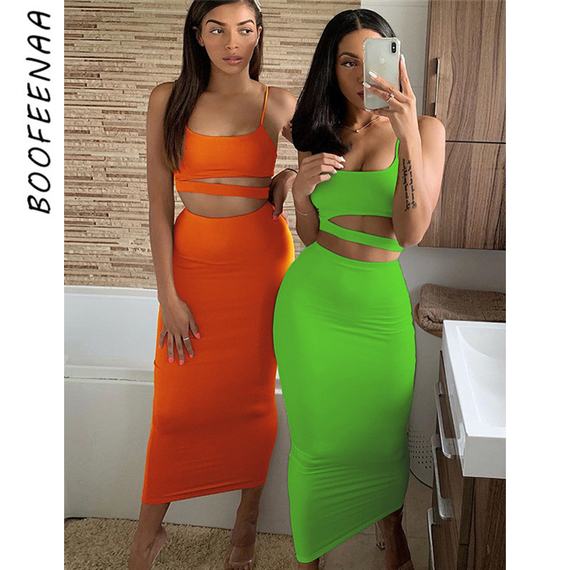 BOOFEENAA Sexy 2 Piece Long Skirt And Crop Top Set Women Bodycon Two Piece Set Birthday Party Club Outfits Matching Sets C83AZ85