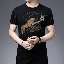 2021 summer new men's short-sleeved T-shirt cheetah print graffiti pure cotton casual half-sleeved T-shirt top