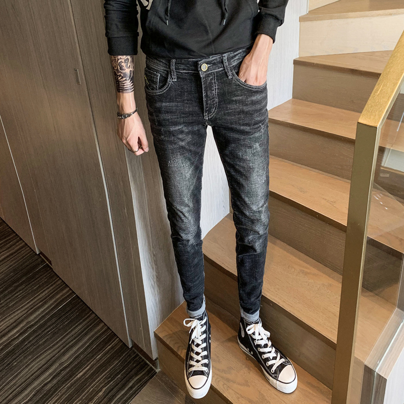 2019 new men's embroidery personality hole   jeans   youth Slim Korean version of the trend of stretch black straight feet pants