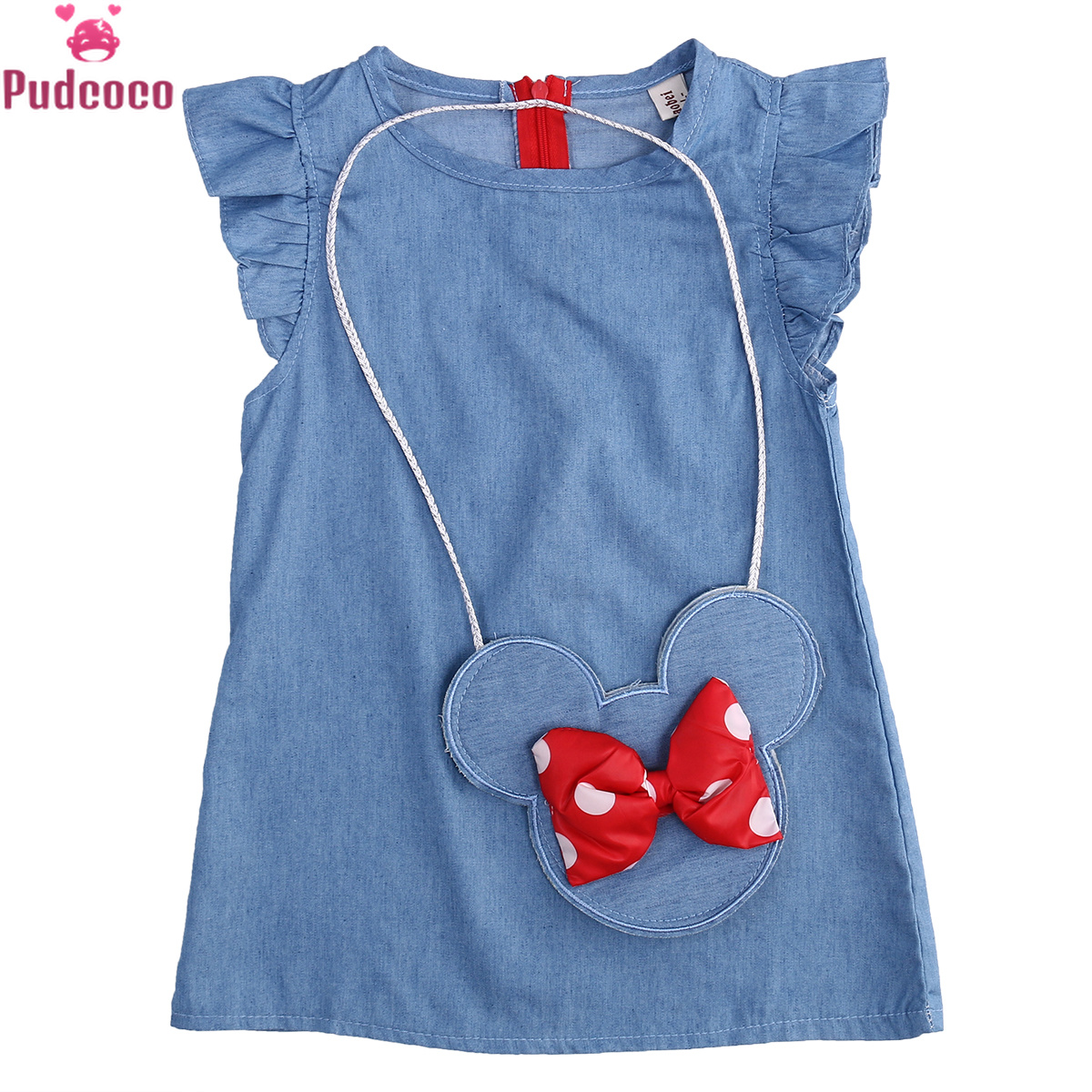 2020 Kids Baby Girl Dress Minnie Mouse Bag +Demin Flying Sleeves Dress Gown Party Dress Sleeveless Clothes Girls Ruffle Outfits