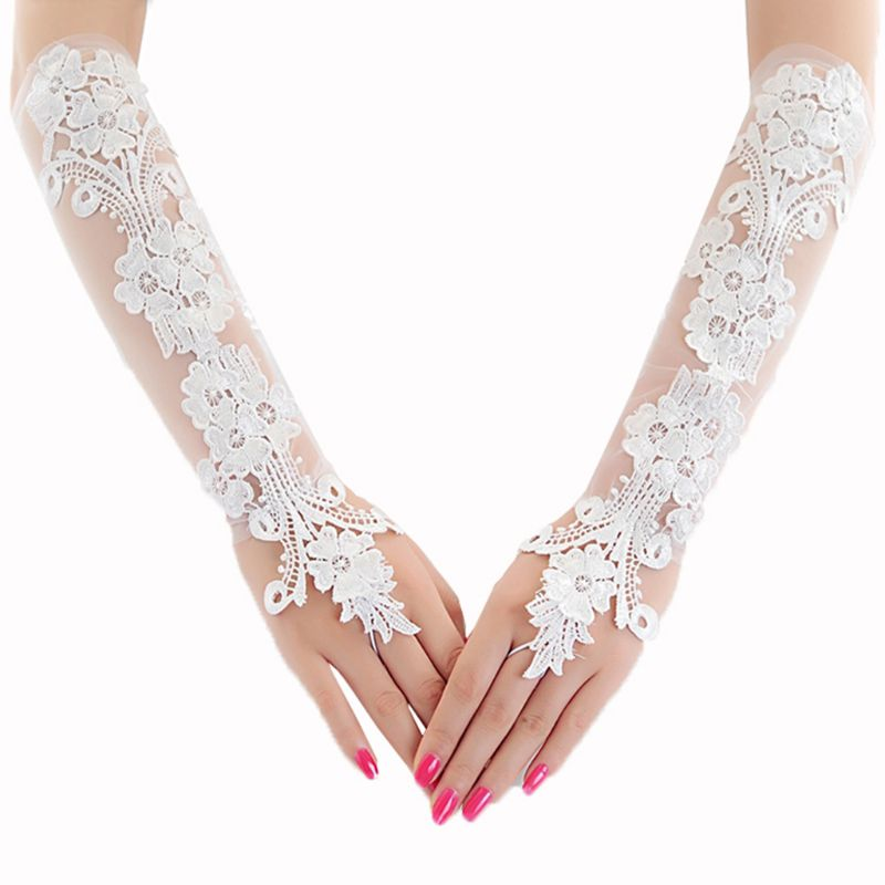 Ladies Sweet Embroidery Floral Lace Long Gloves Sheer Mesh Length Bridal Wedding Prom Sunscreen Fingerless Mittens