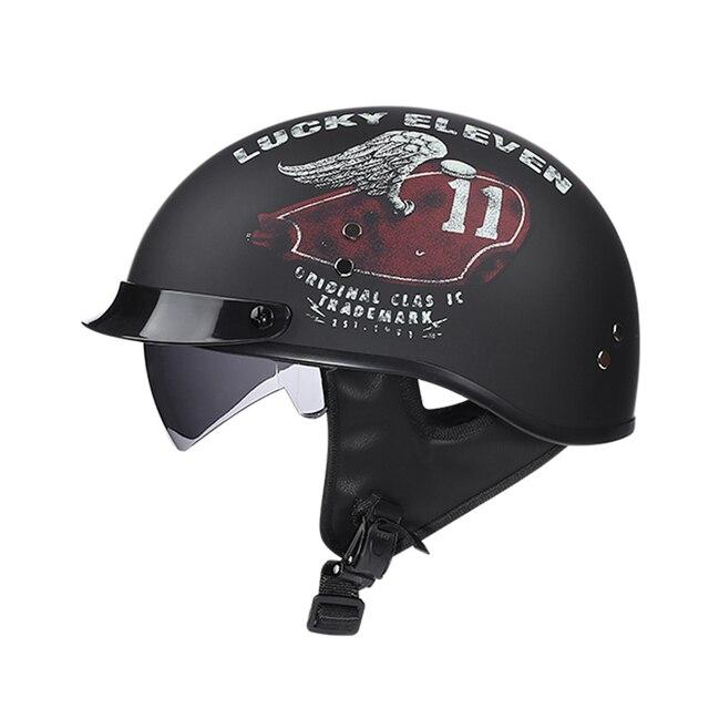 casque mobylette moto Vintage demi-visage rétro avec pare-soleil intérieur  1