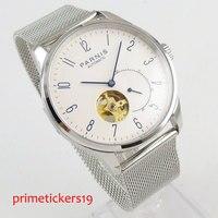 Relógio automático masculino 42mm parnis branco dial azul marcas safira vidro cinta de aço inoxidável pa1018