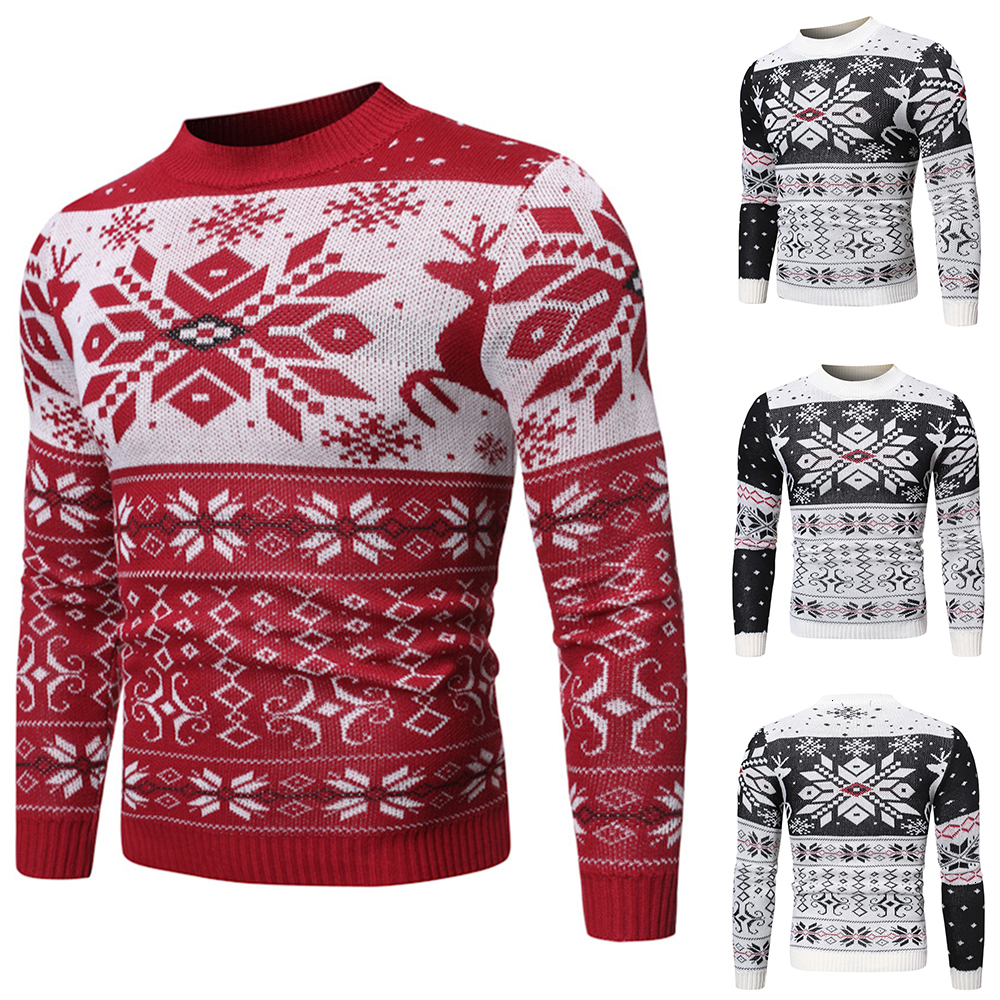 Warm Wool Coats Knitwears Men Elk Christmas Pullovers Casual Men Autumn Winter Wool Sweaters O-neck Long Sleeve Knitted Sweaters
