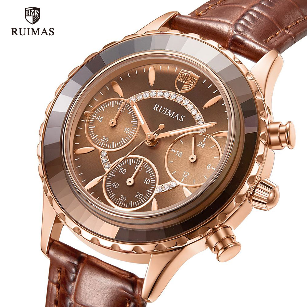 RUIMAS Women Rose Gold Quartz Watches Luxury Leather Strap Chronograph Watch Lady Casual Wristwatch Female Relogios Feminino 592