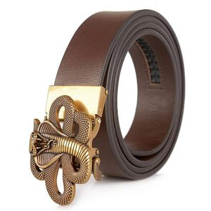 Image 2 - Men's Leather Ratchet Dress Belt with Automatic Buckle Fashion Men Automatic Buckle Belt Luxury Men`s Leather Belts alloy buckle