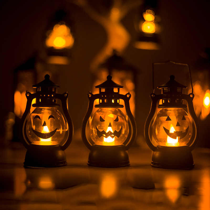 Halloween Party Light Up Pumpkin Lantern Oil Lamp Wind Light Dazzling Toys for Home Bar School Halloween Decoration