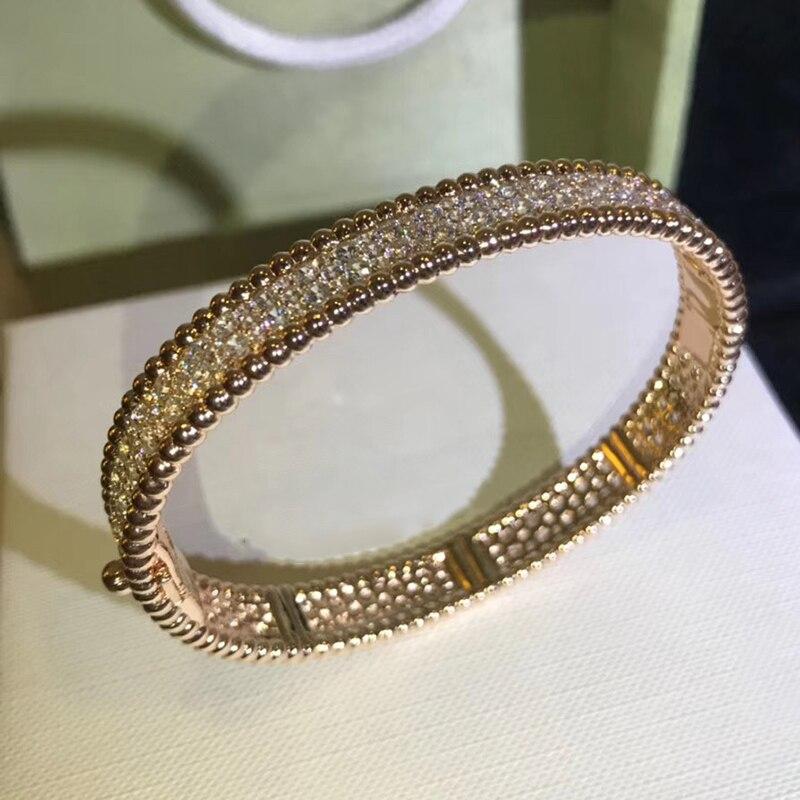 Marque Pure 925 bijoux en argent pour les femmes couleur or pleine pierre bracelet en or Rose trèfle bracelet bijoux de mariage autour de perles bracelet - 4