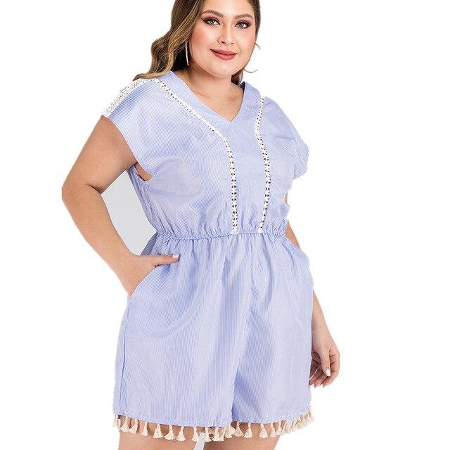 2020 summer plus size jumpsuit for women large sleeveless loose casual lace stripe V neck short jumpsuits blue 4XL 5XL 6XL 7XL 1