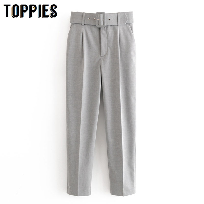2020 Spring Summer Gray Suit Pants Women High Waist Harem Pants Leisure Women Torusers Streetwear