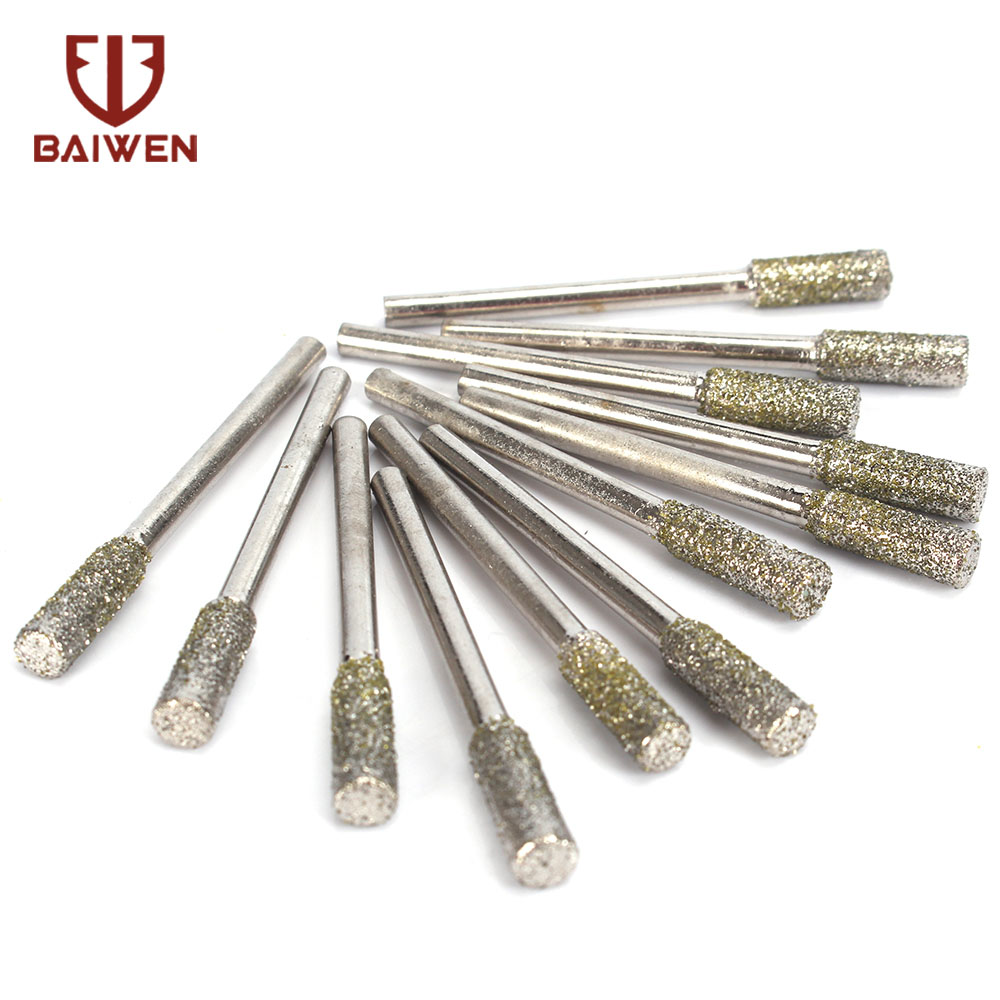 2-10PCS  5mm Diamond Grinding Head Coated Cylindrical  Chainsaw Sharpener Stone File Chain Saw Sharpening Carving Grinding Tools