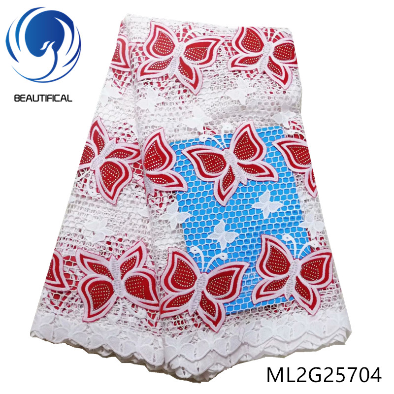 BEAUTIFICAL african lace fabrics Latest design Guipure lace with Butterfly pattern Flannel fabrics with stones 5yards ML2G257 - 4