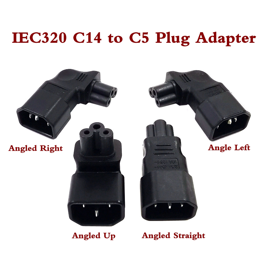 IEC320 C5 Power Converter, IEC C14 Male Plug To C5 Up/Left/Right/Strainght Angle Connector 10A 250V