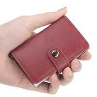 Nueva billetera automática de aleación de aluminio con tarjetero antirrobo con identificación por radiofrecuencia y tarjeta de crédito