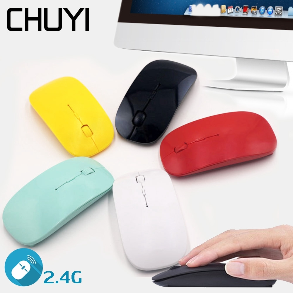 CHUYI Wireless Optical Mouse USB Laptop Office Ganming Ultra-Thin Mouse 2.4G Receiver Super Slim Mause For PC Computer Mice
