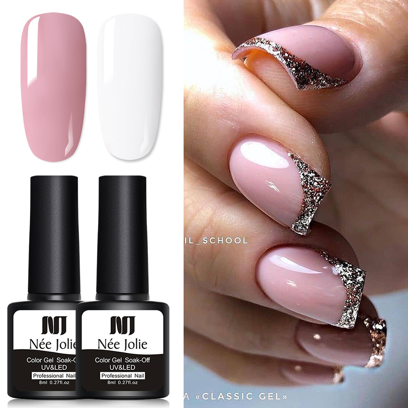 2Pc/set Glitter UV Gel Set Nail Polish Rose Gold Nude Series Led Nail Gel Varnish Varnish Soak Off Nail Sequins Gel Polish 1pc