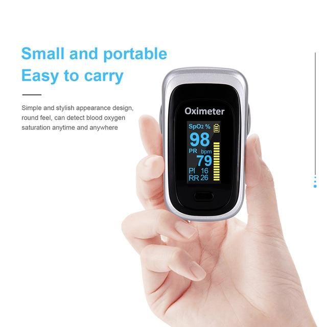 OLIECO Finger Pulse Oximeter Sleep Child Adult SPO2 PR PI RR Monitor Household Blood Oxygen Saturate OLED Oximetro Abnormal Alam 4