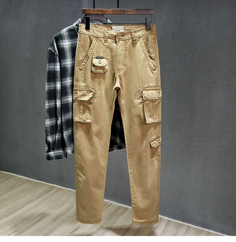 KSTUN Cotton Cargo Pants Men Straight Cut Tactical Military Overalls Multi Pocket Camouflage Pants Khaki Pants Man Trousers Sweatpants 15