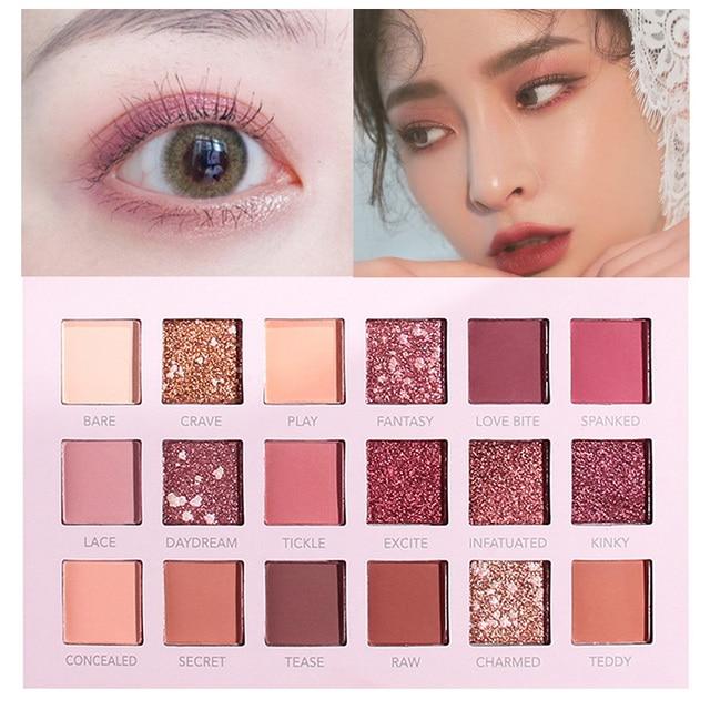 18 Color Eyeshadow Palette Matte Glitter Pearlescent Eyeshadow Shining Pigment Smoky Eye Shadow Waterproof Cosmetic Makeup TSLM1 2