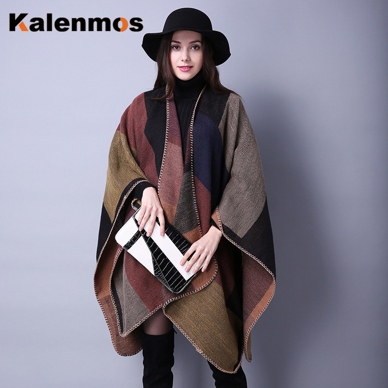 Blanket Scarf Fall Winter Thick Wrap Poncho Women Plaid Travel Shawl Imitation Cashmere Capes National Wind Fork Thicker Cloak