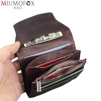 цена на Genuine Leather Small Wallet Men Coin Bag Vintage Men Women Wallets and Purses Small Change Purse Carteira Feminina Men's Wallet
