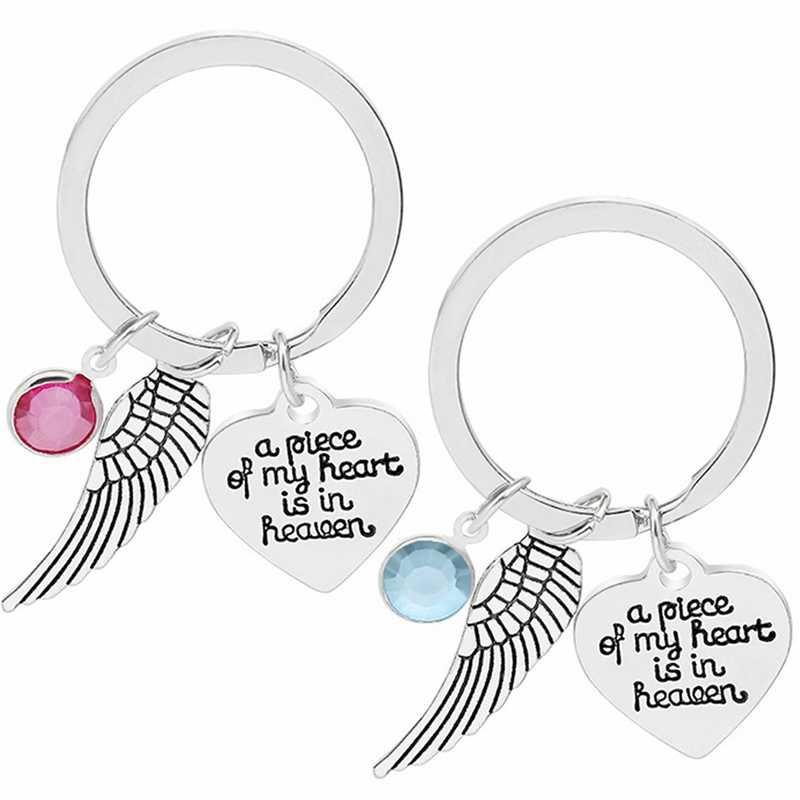 Llaveros de alas de Ángel de Metal una pieza de mi corazón está en el cielo letras llavero cristal corazón parejas llavero regalos joyería