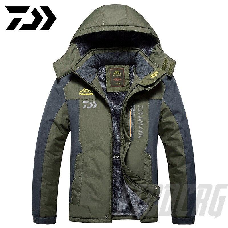 2020 New DAWA Thick Fishing Jacket Winter Waterproof Fishing Clothing Men Warm Fleece Cycling Fishing Coat Oversized Size M-9XL
