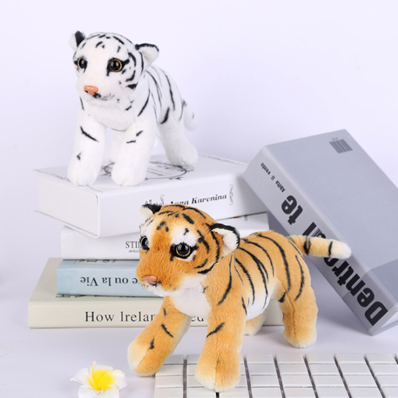 22*15cm Kawaii Cute King Of Forest Simulation Tigers Yellow White Stuffed Plush Toy Soft Doll Model Hold Pillow Kids Baby Gift